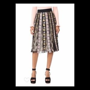 "Alice+Olivia ""Birdie Embroidered Mid-length Skirt"""